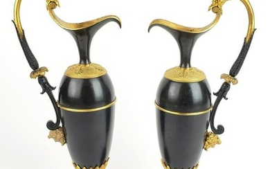Pair of 19th C. Empire Gilt Bronze & Marble Urns