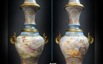 Pair of 19th C. Sevres Porcelain Bronze-Mounted Vases