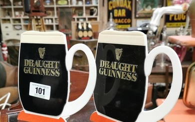 Pair of Draught Guinness Perspex Pint Glass Counter Stands {...