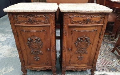 Pair of French Carved Oak Bedside Cabinets, with coloured marble tops, a drawer & panel door