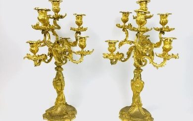 ?Pair of Large & Heavy 19th C. French Gilt Bronze