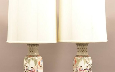 Pair of Oriental Porcelain Polychrome Table Lamps.