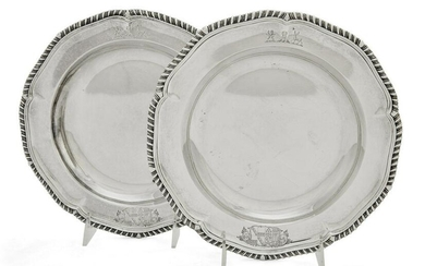 Pair of Paul Storr sterling soup plates, 1835