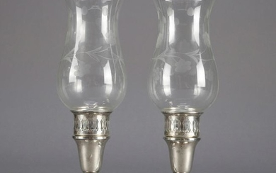 Pair of Sterling Silver Candlestick Hurricane Lights