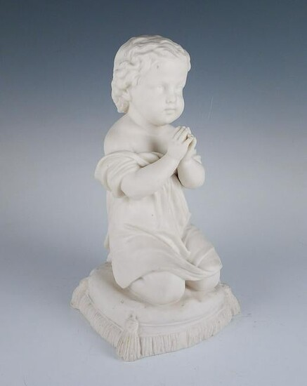 Parian Ware Porcelain Figurine Praying Child Signed KC