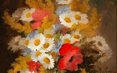 Paul de Longpre (French, 1855-1911) Daisies, Poppies