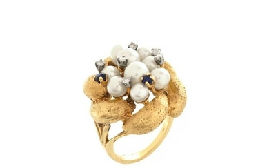 Pearl, Diamond, Sapphire and 14K Ring