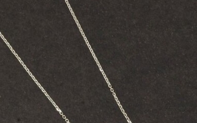 Pendant necklace in white gold, decorated with an...