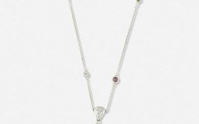 Pink sapphire and diamond heart necklace