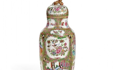 Polychrome porcelain baluster vase and cover China, second half of 19th Century