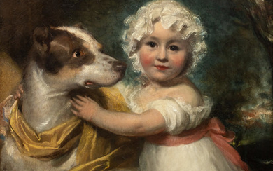 Portrait of a Young Girl and Dog