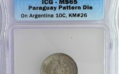 RARE PARAGUAY 18xx 5 CENTS ON ARGENTINA 10C -PATTERN