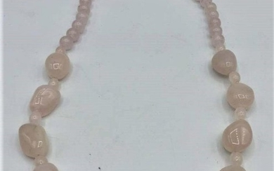 ROSE QUARTZ BEAD NECKLACE; gold filled clasp