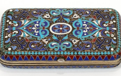 "RUSSIAN ENAMEL HINGED CASE 1891 - 96, W 2"" L 3.6"""