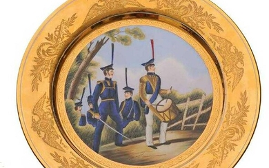 RUSSIAN IMPERIAL PORCELAIN MILITARY DISH