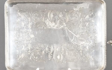 Rectangular tray of punched Spanish silver of Pasgorcy.