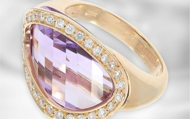 Ring: attractive rose gold designer ring with amethyst...