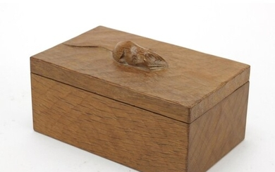 Robert Mouseman Thompson adzed oak box and cover carved with...