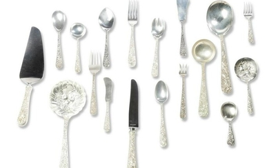"""SET OF S. KIRK & SON """"REPOUSSE"""" STERLING FLATWARE."""