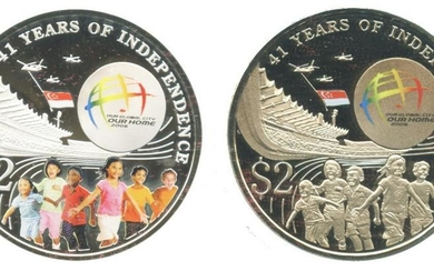SINGAPORE Silver & Cu-Ni $2 commemorative 2 in 1 Coin