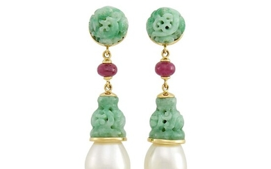 Seaman Schepps Pair of Gold, Carved Jade, Ruby Bead and Cultured Pearl Pendant-Earclips
