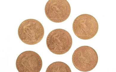 Seven gold coins of 20 FF Coq