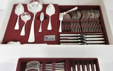Sola exclusief 100 - Cutlery 9-person + serving cutlery, 97 pieces in cassette, motif Hollands Glad - Silverplate
