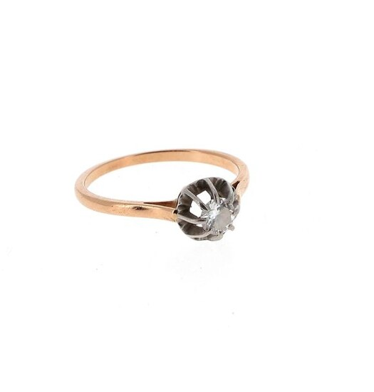 Solitaire in 18 K yellow gold (750 °/°°°) and platinum (950 °/°°) set with a brilliance of about 0.25 ct Gross