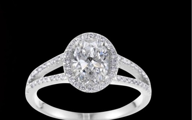 Sparkle Diamond Ring with 2.30 Ct ideal cut oval Diamond with Gia certificate Excellent Excellent - 18 kt. White gold - Ring - 2.30 ct Diamond - Diamonds