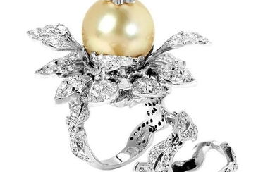 Stambolian Affection Pearl Diamond Gold Tremble Ring