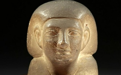 Stunning Egyptian Alabaster Bust of a Regal Figure