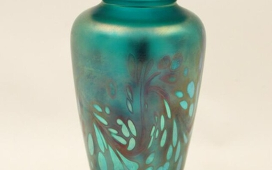 PEACOCK BLUE IRIDESCENT ART GLASS VASE, SIGNED TIFFANY
