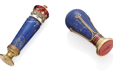 TWO ENAMELLED GOLD-MOUNTED HARDSTONE DESK-SEALS, THE FIRST APPARENTLY UNMARKED, FIRST QUARTER 20TH CENTURY; THE SECOND LATE 19TH CENTURY