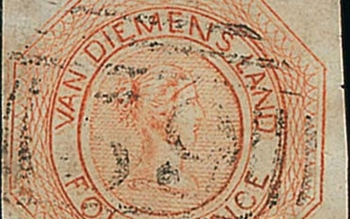 Tasmania 1855 (Nov.) second state of plate, 4d. orange with double impression, good margins on...