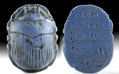 Translated Egyptian Blue Paste Glass Heart Scarab