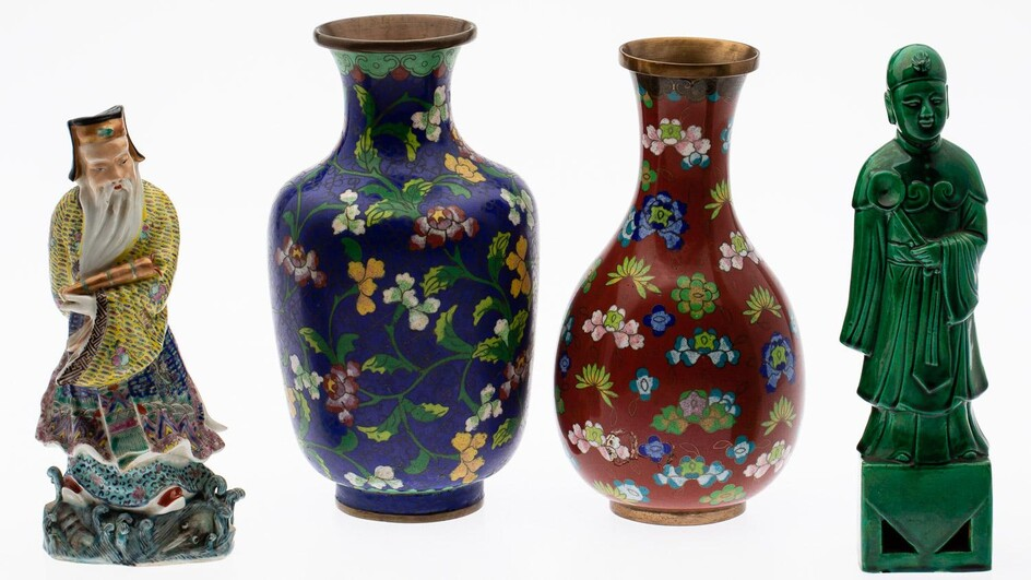 Two Chinese Cloisonné Vases and Two Chinese Porcelain Figures, 20th Century EV2DC