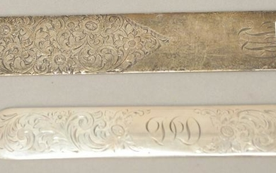 Two sterling silver page turners, one Shreve Crump and