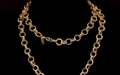 Two tone gold double rope twist chain necklace marked 750, A...