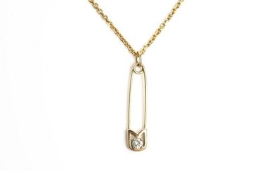 VINTAGE GOLD CHAIN WITH SAFETY PIN PENDANT, 10.3g