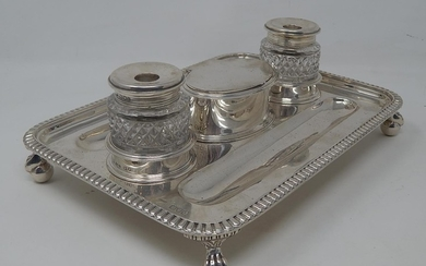 Victorian Silver Inkstand with Twin Silver Mounted Cut Cryst...