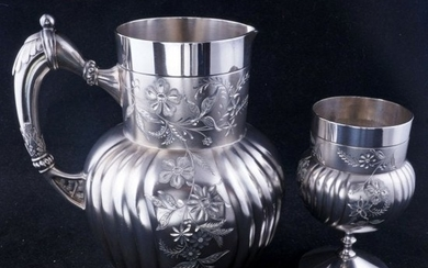 Victorian Silverplate Pitcher and Goblet Webster & Son
