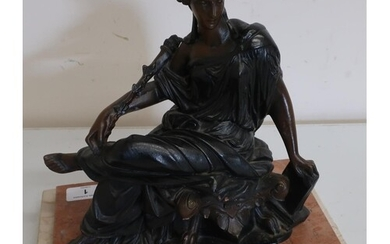 Victorian style patinated resin figure of a seated classical...