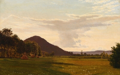 Vilhelm Kyhn: Landscape with haystacks. Signed with monogram and dated 25/8 70. Oil on canvas. 45×30 cm.