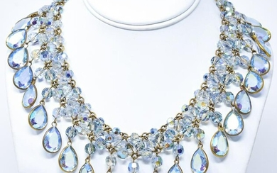 Vintage French Parurier Made Iridescent Necklace
