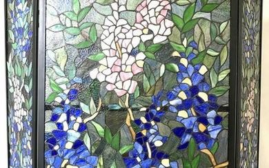 Vintage Stained Glass Floral Fireplace Screen