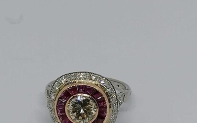 White gold , Diamond and ruby ring