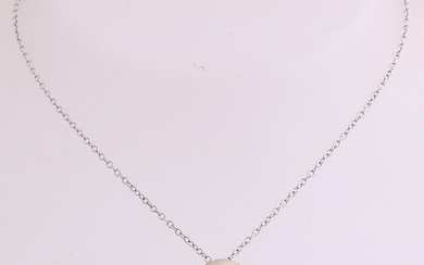 White gold necklace and pendant, 750/000, with diamond.