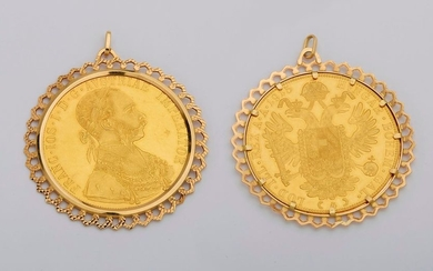 Yellow gold pendant with a gold coin of...