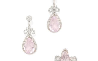 a pair of white gold, kunzite and diamond earrings and ring set
