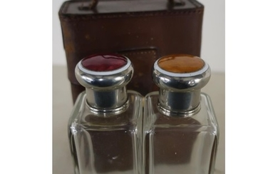 c.1920's tan leather cased pair of travelling glass square f...